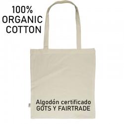 Bolsa de algodón orgánico Gots y Fairtrade de calidad 120gr
