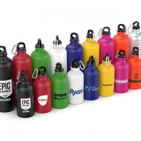 Botella de agua de aluminio reciclado. REUTILIZABLE. 750ml/ 400ml