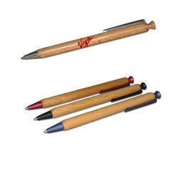 Boligrafo de madera FSC - Clip colores