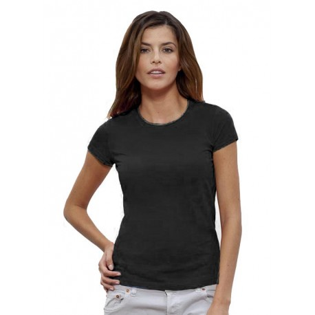 Camiseta orgánica básica 140 Negra. mujer