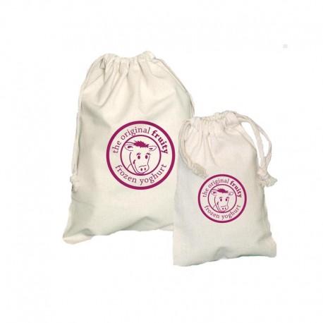 Bolsitas de algodón natural y producción ética con  cierre de cordones